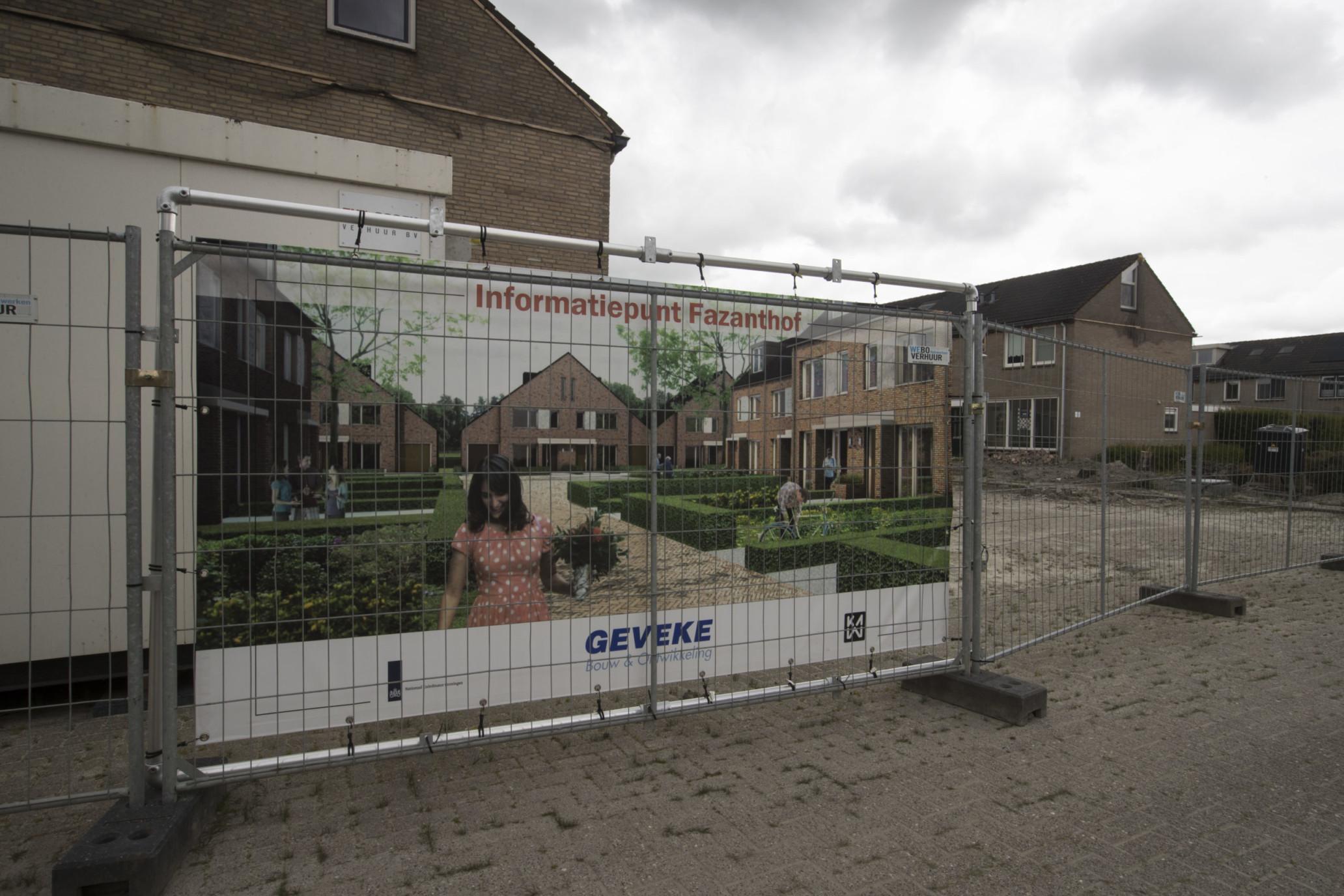 Zuidhorn Impressie op bouwbord, woningbouw