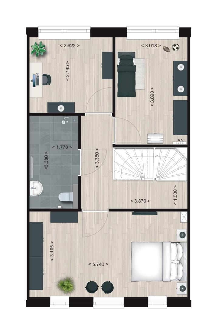 Pakhuis Type 8, eerste verdieping