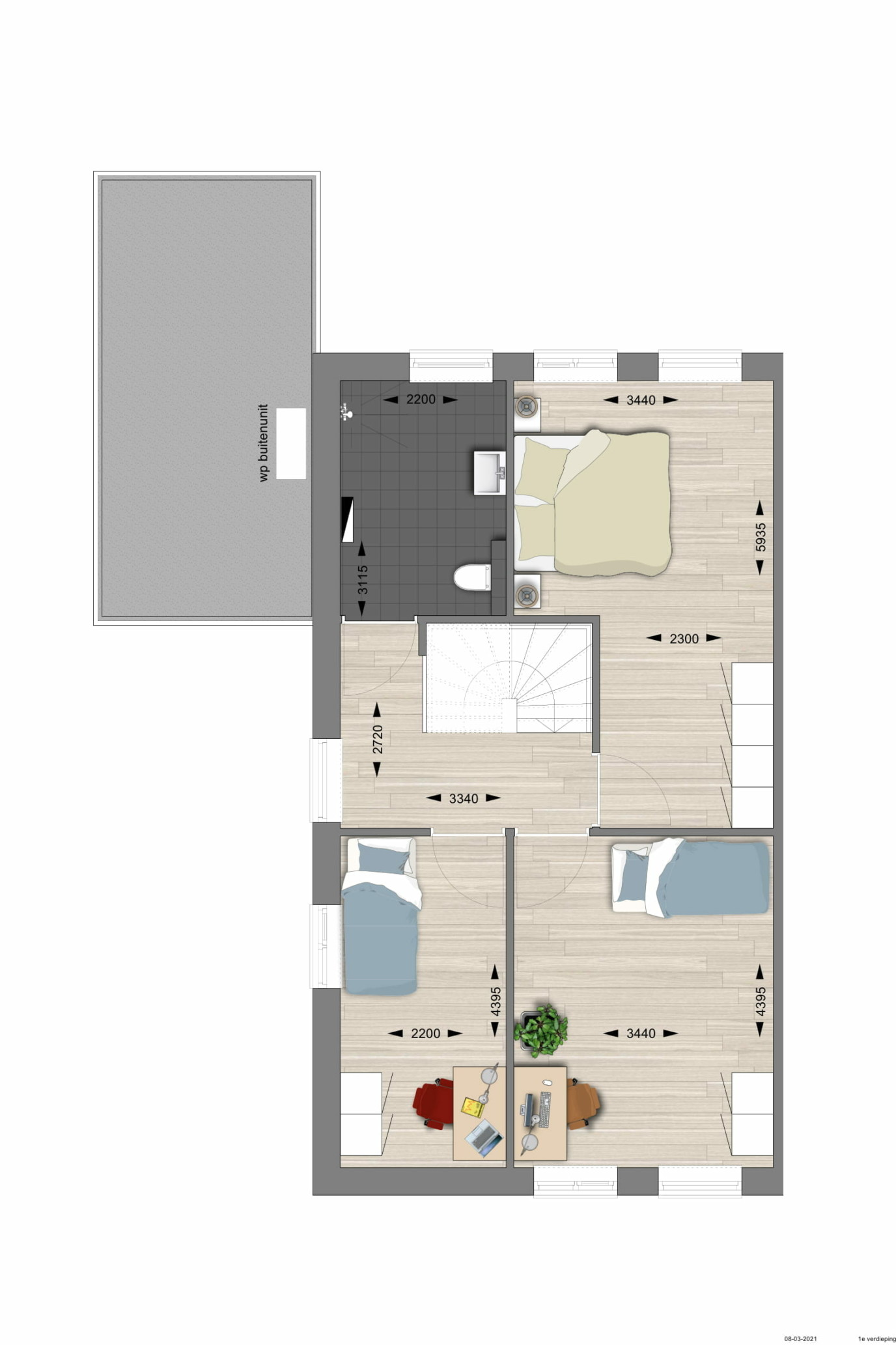 Half vrijstaand eerste etage